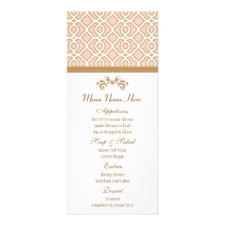 Blush Pink and Gold Moroccan Menu Full Colour Rack Card