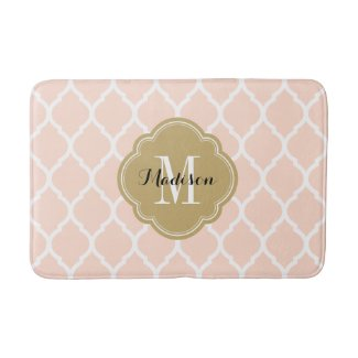 Blush Pink and Gold Moroccan Quatrefoil Monogram Bath Mat