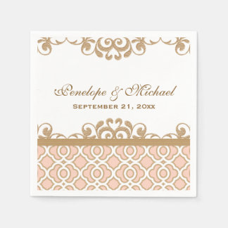 Blush Pink and Gold Moroccan Wedding Disposable Napkins
