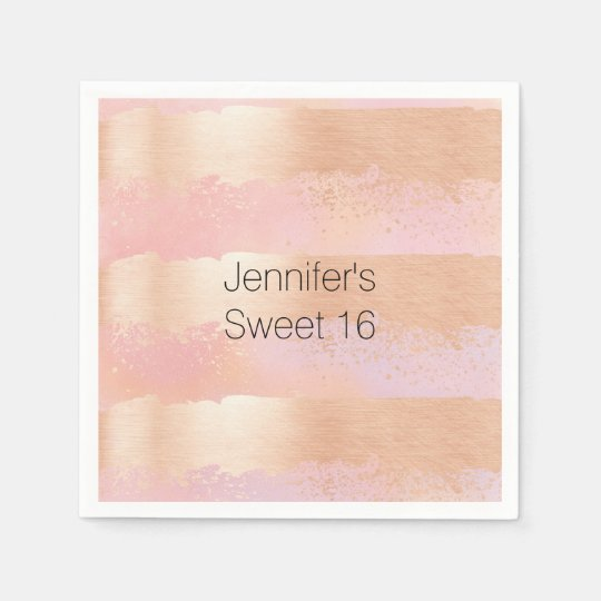 Blush Pink and Gold Personalised Paper Napkins