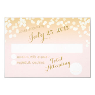 Blush Pink and Gold Sparkle Lights RSVP 9 Cm X 13 Cm Invitation Card