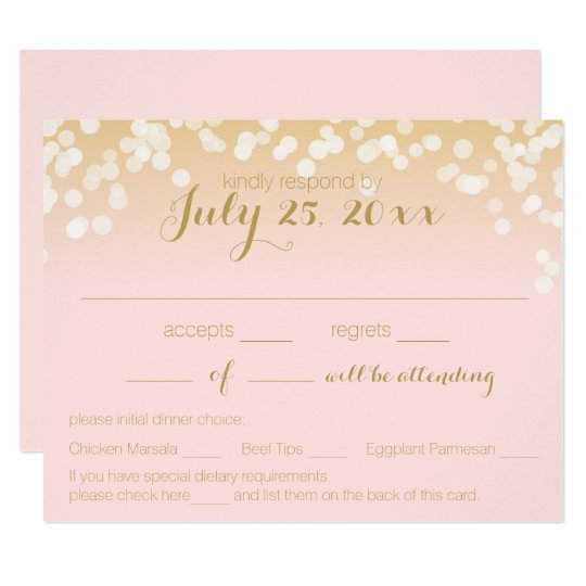 Blush Pink and Gold Sparkle Lights RSVP Card
