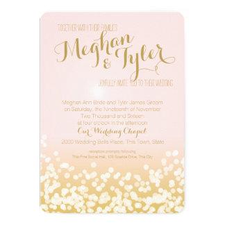 Blush Pink and Gold Sparkle Lights Wedding 13 Cm X 18 Cm Invitation Card