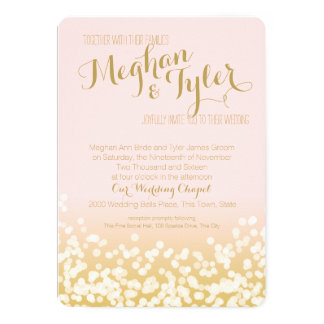 Blush Pink and Gold Sparkle Wedding 13 Cm X 18 Cm Invitation Card