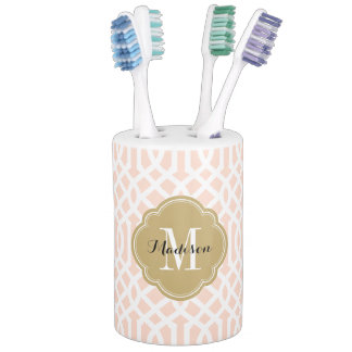 Blush Pink and Gold Trellis Monogram Soap Dispenser And Toothbrush Holder