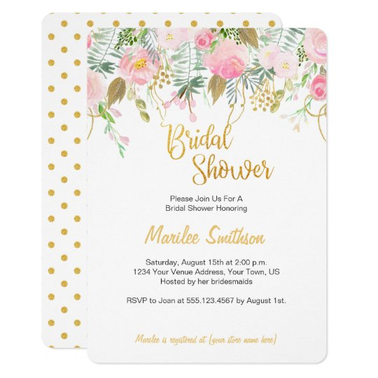 Blush Pink and Gold Watercolor Bridal Shower Card