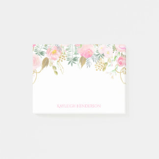 Blush Pink and Gold Watercolor Flowers Monogram Post-it Notes