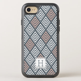 Blush Pink and Gray Chevron Diamond Monogram OtterBox Symmetry iPhone 8/7 Case