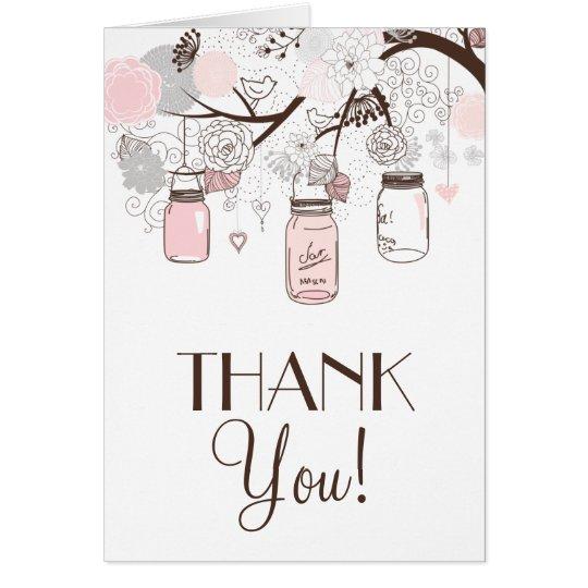 Blush Pink and Grey Mason Jars Thank You