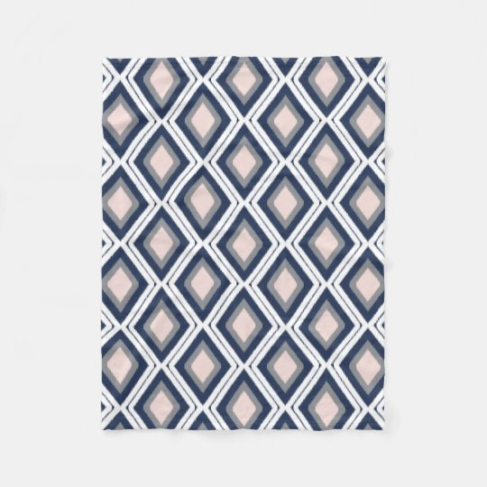 Blush Pink and Navy Diamond Ikat Pattern Fleece