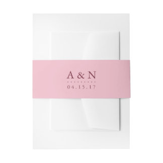 Blush Pink and Plum Wedding Monogram Invitation Belly Band