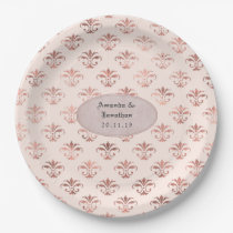Blush Pink and Rose Gold Damask Foil Wedding Paper Plate