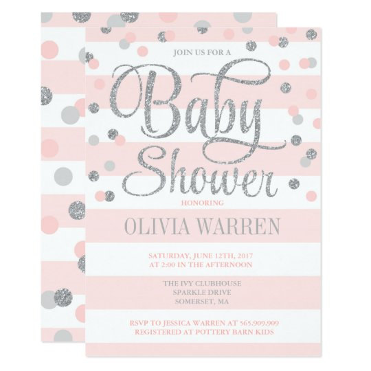 Blush Pink And Silver Baby Shower Invitation