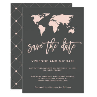 Blush Pink and Smoky Gray World Map Save the Date Card