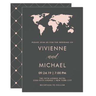 Blush Pink and Smoky Gray | World Map Wedding Card