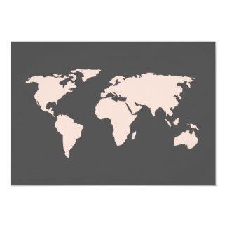 Blush Pink and Smoky Gray | World Map Wedding RSVP Card