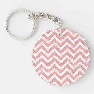 Blush Pink and White Chevron Zig Zag Double-Sided Round Acrylic Key Ring