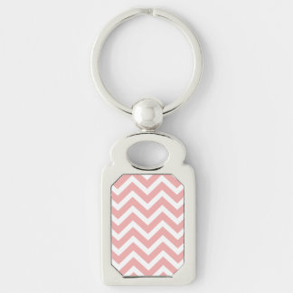 Blush Pink and White Chevron Zig Zag Silver-Colored Rectangle Key Ring