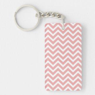 Blush Pink and White Chevron Zig Zag Single-Sided Rectangular Acrylic Key Ring