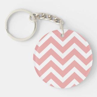 Blush Pink and White Chevron Zig Zag Single-Sided Round Acrylic Key Ring