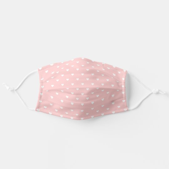 Blush Pink and White Heart Pattern Cloth Face Mask