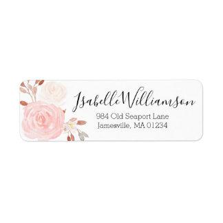 Blush Pink and White Rose Return Address Labels