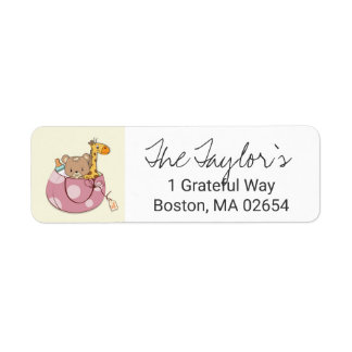 Blush Pink Baby Animals Return Address
