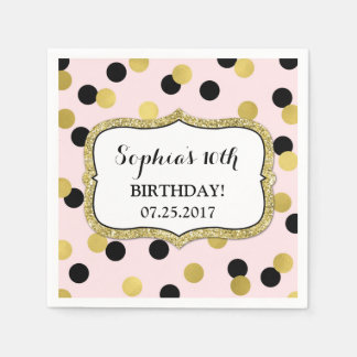 Blush Pink Black Gold Confetti Birthday Party Disposable Serviettes