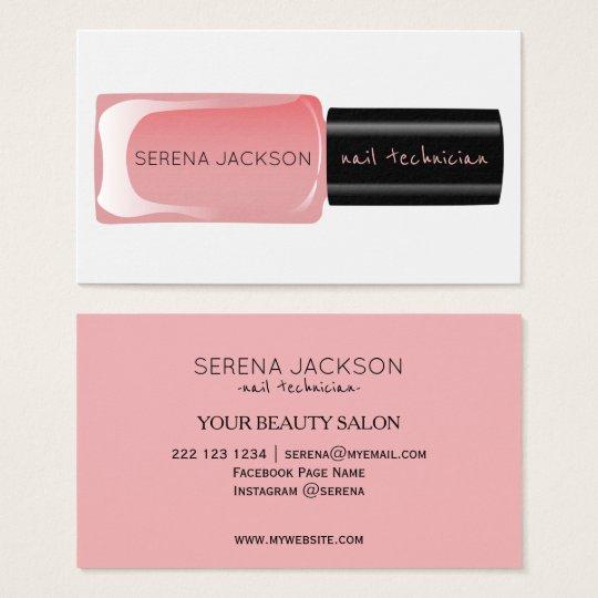 Blush pink black nail polish bottle manicurist business
