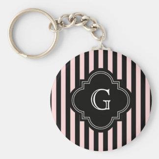 Blush Pink, Black Stripe Pattern Monogram Keychain