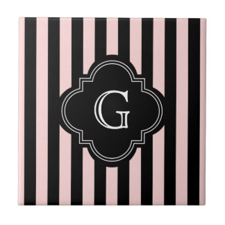 Blush Pink, Black Stripe Pattern Monogram Tile