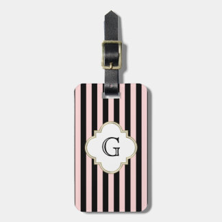 Blush Pink, Black Stripe White Monogram Label Luggage Tag