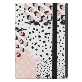 Blush Pink Black & White Abstract Art Cover For iPad Mini