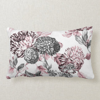 Blush Pink Black & White Botanical Toile Lumbar Cushion