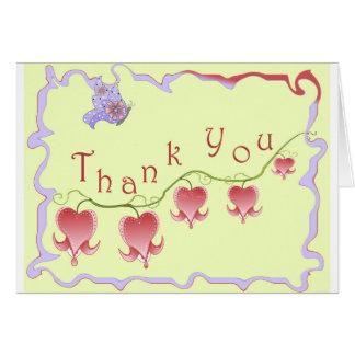 Blush Pink Bleeding Heart Thank You Card