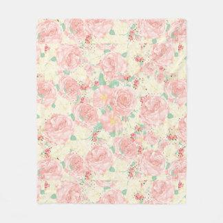 Blush pink bohemian vintage flowers pastel roses fleece blanket