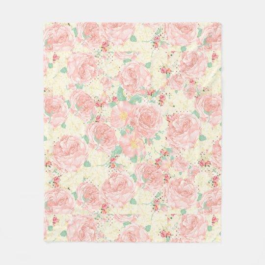 Blush pink bohemian vintage flowers pastel roses fleece