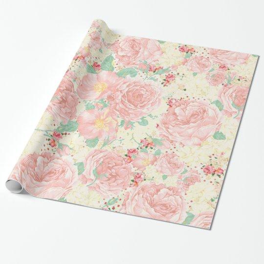 Blush pink bohemian vintage flowers pastel roses wrapping