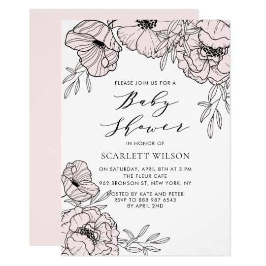 Blush Pink Botanical Baby Shower Invitation