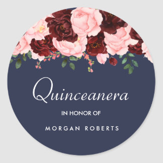 Blush Pink Burgundy Floral Navy Blue Quinceanera Classic Round Sticker