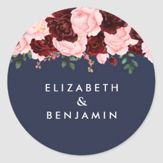 Blush Pink Burgundy Floral Navy Blue Wedding Classic Round Sticker