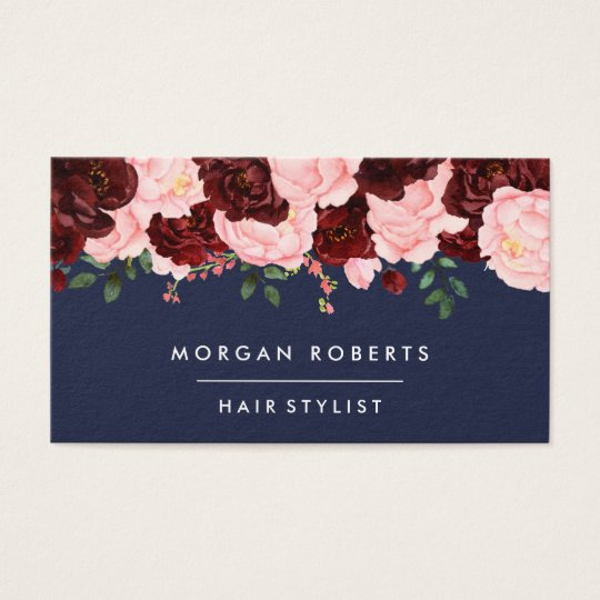 Blush Pink & Burgundy Floral Pretty Navy Blue Business Card