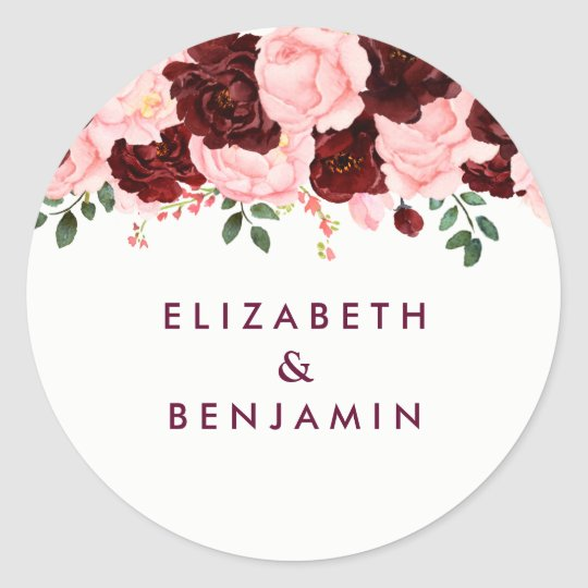 Blush Pink & Burgundy Floral Watercolor Wedding Classic Round Sticker