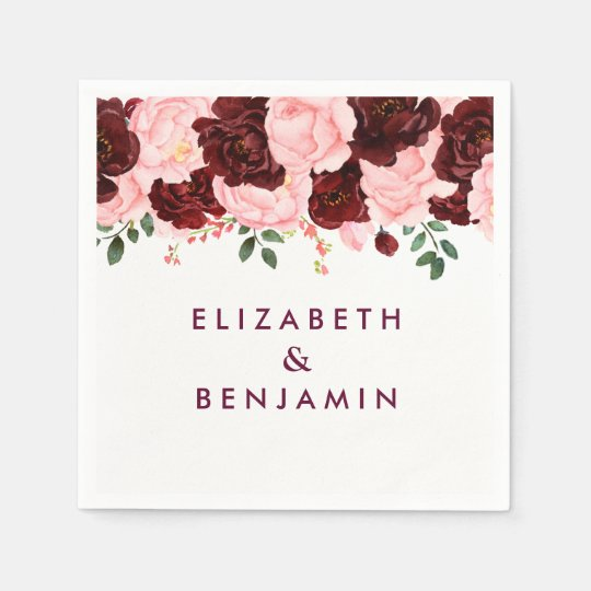 Blush Pink & Burgundy Floral Watercolor Wedding Paper Napkin