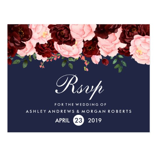 Blush Pink Burgundy Flowers Navy Blue Wedding RSVP Postcard