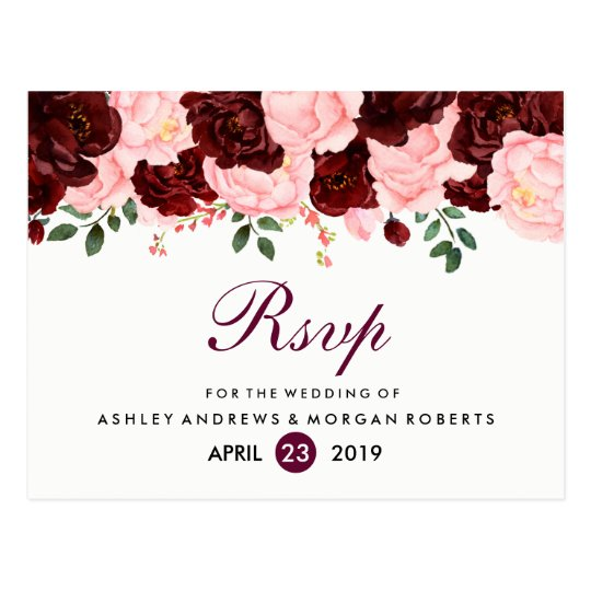 Blush Pink Burgundy Flowers Wedding RSVP Postcard