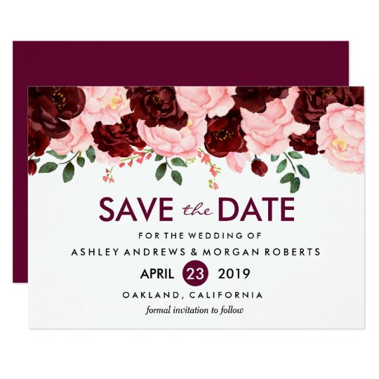 Blush Pink Burgundy Flowers Wedding Save The Date Card