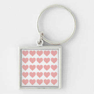 Blush Pink Candy Hearts on White Key Chains