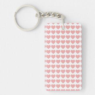 Blush Pink Candy Hearts on White Single-Sided Rectangular Acrylic Key Ring