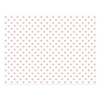 Blush Pink Candy Polkadot Hearts on White Postcard